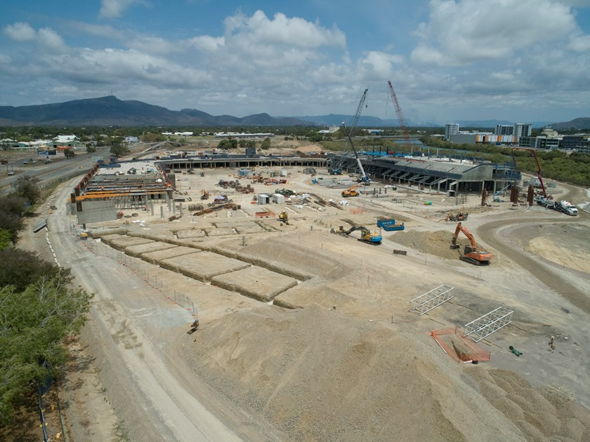 North Queensland Stadium project site looking south (image taken by drone 12 October 2018) © Queensland Department of Housing and Public Works