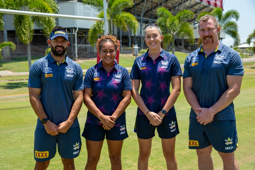 North Queensland Gold Stars: coaching director Ben Jeffries, representative players Shaniah Power and Romy Teitzel, program manager and trainer Glenn Hall. Not pictured: head coach Gavin Lloyd.
