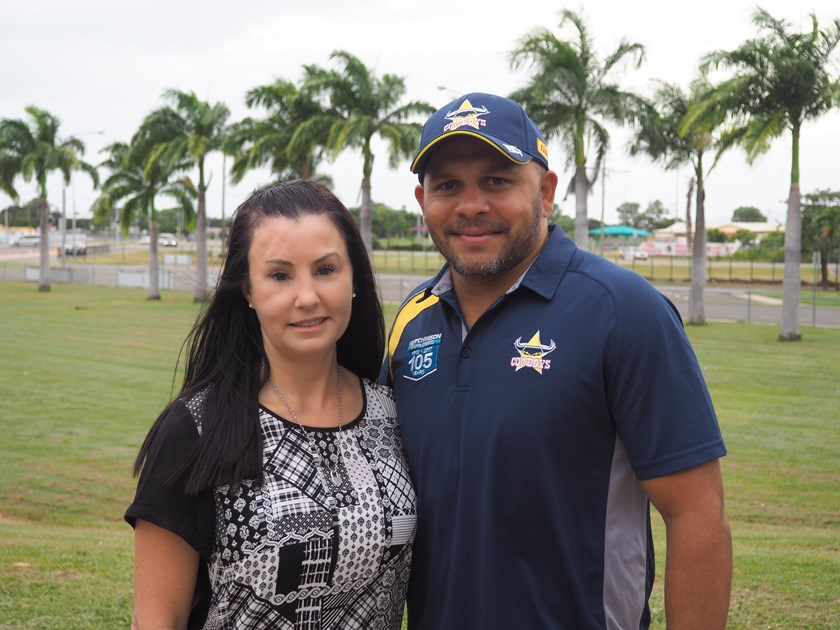 Domestic violence survivor and speaker Simone O'Brien with Cowboys community ambassador Matthew Bowen.