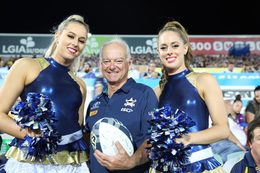 Michael and two of the Cowboys Spirit during Round 11 at home.