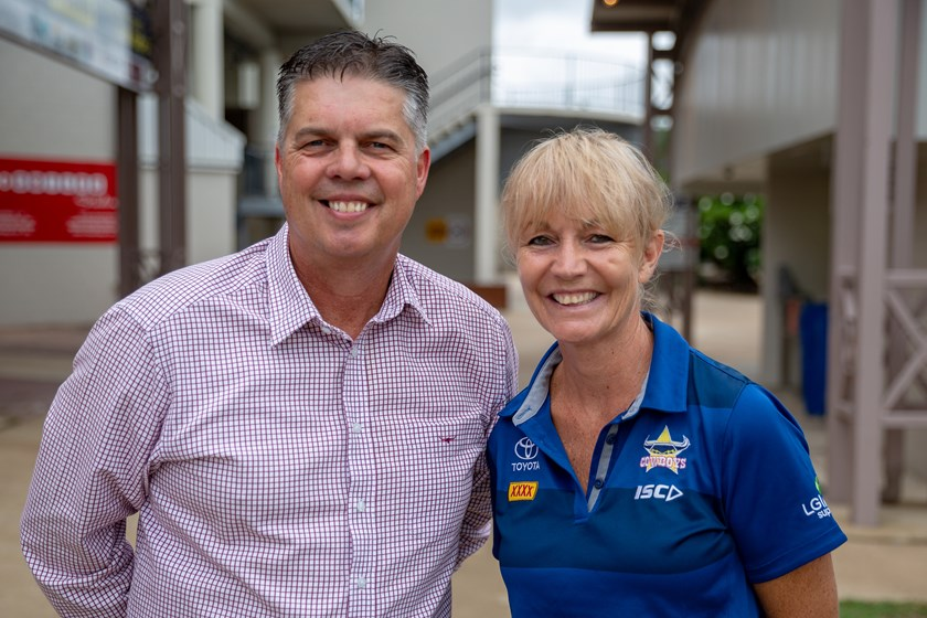Member for Thuringowa Aaron Harper with Cowboys general manager community Fiona Pelling at the announcement today.