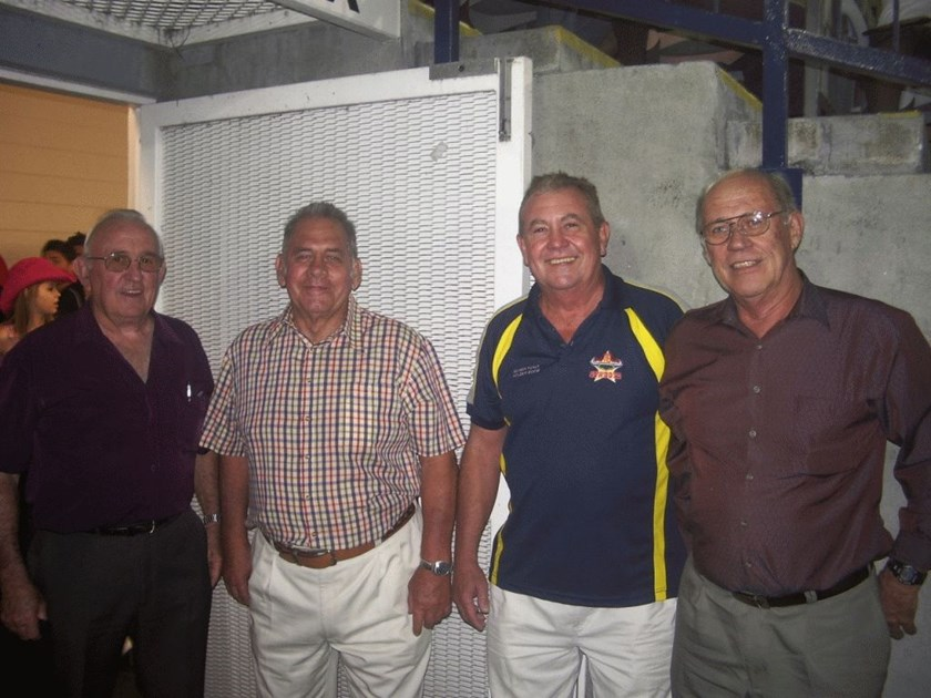 Jim Paterson (second from left) with fellow former NQ players Brian Fitzsimons (left), Ray Miguel (second from right) and Gary Wellington (right) in the Cowboys tunnel at 1300SMILES Stadium during the Centenary of League celebrations in 2008