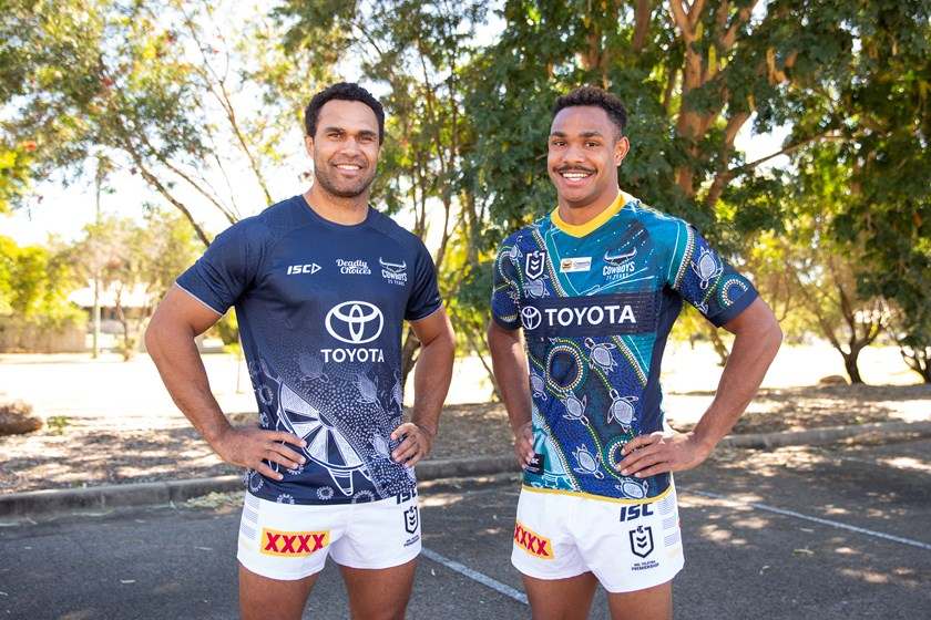 Justin O'Neill (Cowboys Deadly Choices training shirt) & Hamiso Tabuai-Fidow (2020 Indigenous jersey)
