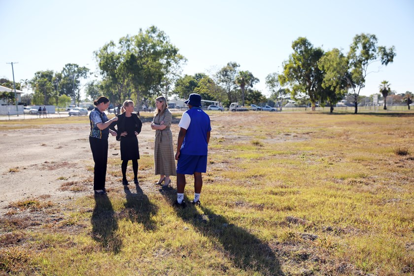 Rochelle Jones, Fiona Pelling, Minister Shannon Fentiman and NRL Cowboys House student George Abedendo (Thursday Island) survey the block