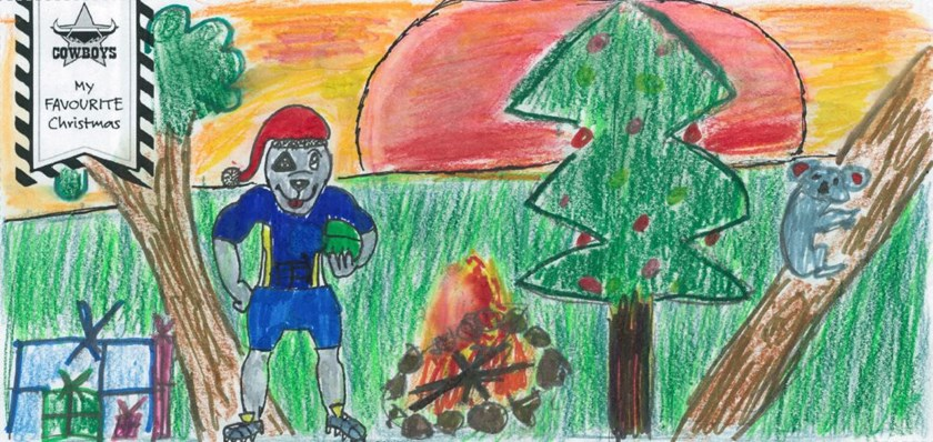Holly's winning design will feature on the front of the Cowboys official Christmas card.