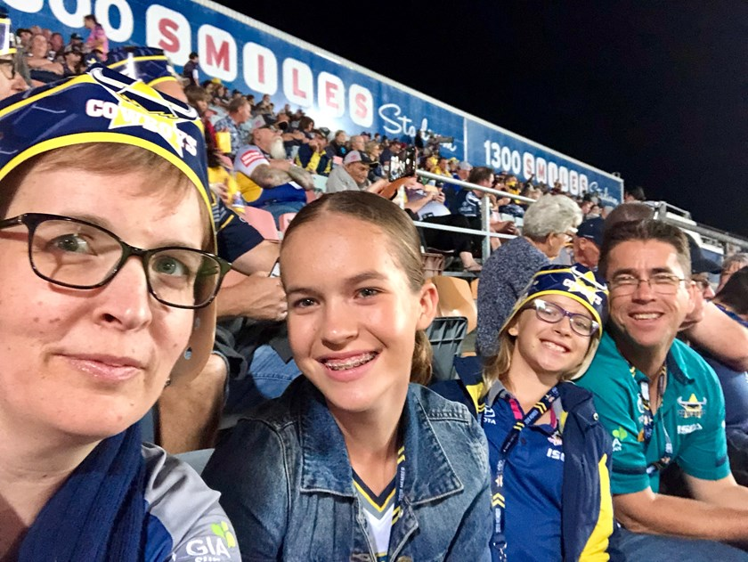 Tina, Lucy, Emma and John at Cowboys v Eels for JT's last game.