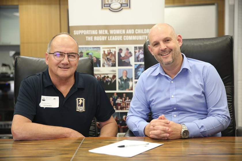 Men of League Townsville president Mark Williams and Cowboys CEO Jeff Reibel.