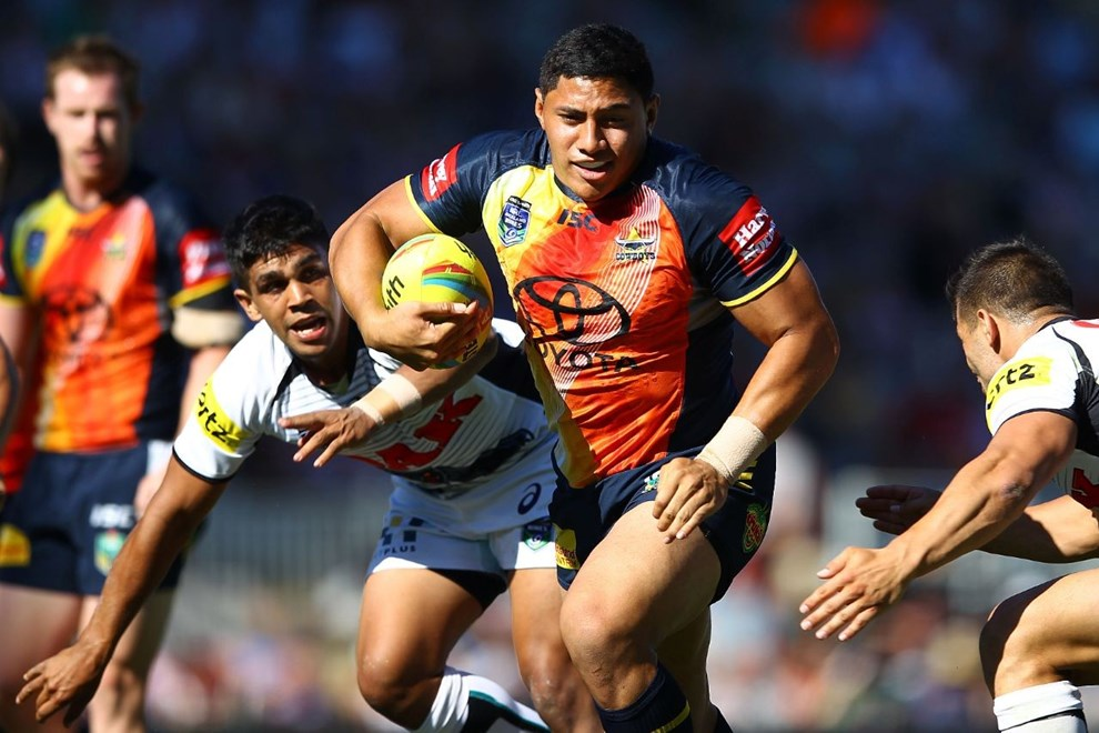 Cowboys' Jason Taumalolo in action. Day Two of the Dick Smith NRL Auckland Nines, Eden Park, Auckland, New Zealand. Sunday 16th February 2014. Photo: www.photosport.co.nz