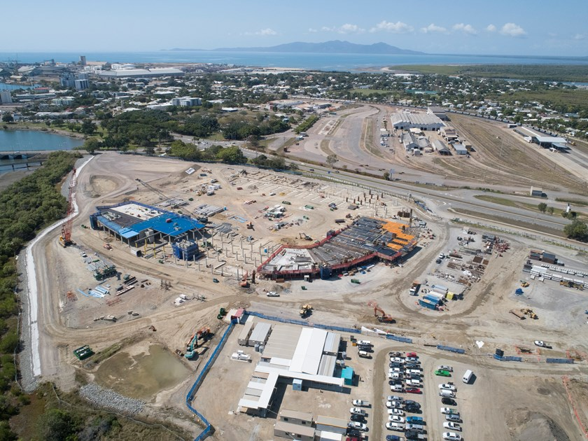North Queensland Stadium project site looking east (image taken by drone 20 July 2018)